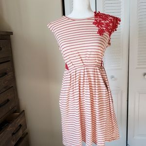 Nick and Mo Striped Crocheted Details Dress